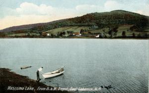 NH - East Lebanon. Mascoma Lake from Boston & Maine RR Depot