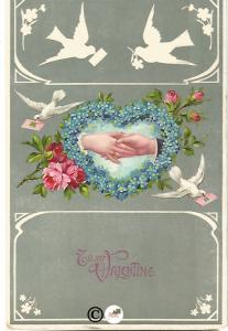 Old Valentine's Day Postcard Clasped Hands & Doves Forget Me Not made into Heart