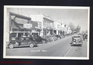 RPPC FALLON NEVADA DOWNTOWN STREET SCENE 1930's CARS REAL PHOTO POSTCARD