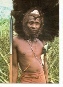 Postal 045939 : Guerrero Maasai con plumas de avestruz (Kenya)