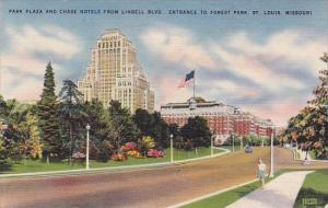 Missouri Saint Louis Park Plaza And Chase Hotels From Lindell Boulevard Entra...