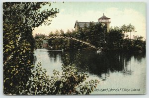 Thousand Islands New York~Bridge to Rose Island Lighthouse~c1910 Postcard