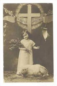 RP: Girl with lamb, Easter Greetings, PU-1910
