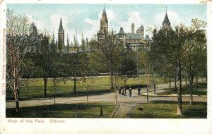 Ottawa Ontario~View of the Park~Family~Man With Bicycle~Dog~1910 Postcard