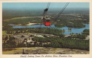 Skylift, Cablecar, Looking Down on Historic Stone Mountain Area and Lake, Sto...