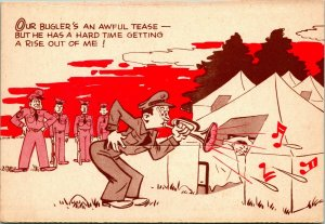 Vtg 1942 Postcard - WWII Soldier Cartoon Camp-Laff Our Bugler's an Awful Tease