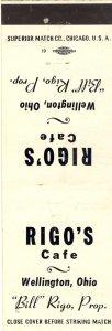 Vintage Wellington, Ohio/OH Match Cover, Rigo's Cafe