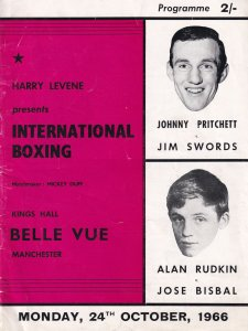 Johnny Pritchett Jim Swords Alan Rudkin 1966 Manchester Boxing Sports Programme