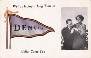 Colorado We're Having A Jolly Good In Denver Romantic Couple Pennant Series