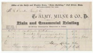 1874 Billhead, ALMY, MILNE & CO., Plain & Ornamental Printing, Fall River, MA