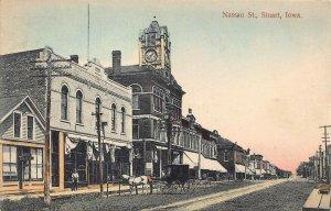 LPS80 STUART Iowa Nassau Street Town View Hand Colored Postcard