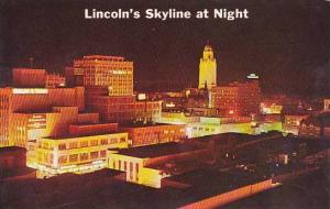 Nebraska Lincoln Greetings From Lincolns Skyline At Night