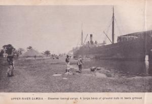 Upper River Gambia Steamer Ship Taking Ground Nuts Africa Old Postcard
