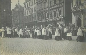 Cardinal Fischer funeral procession bishops atelier Esser & Koenen rare rppc