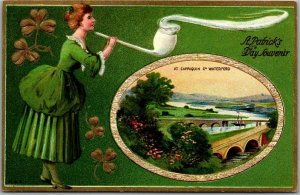 1910s ST. PATRICK'S DAY Postcard Woman & Very Big Clay Pipe / Waterford Ireland