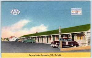 LANCASTER, NEW BRUNSWICK Canada  Roadside  EASTERN MOTEL c1940s Linen Postcard