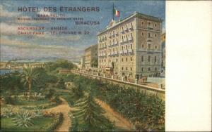 Siracusa Italy Hotel Des Etrangers Promo Advertising c1910 Postcard EXC COND