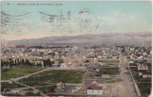 1909 POCATELLO Idaho ID Postcard BIRDSEYE View Homes Buildings