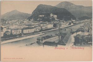 c1910 SALZBERG v. MONCHSBERG Austria Postcard Birdview