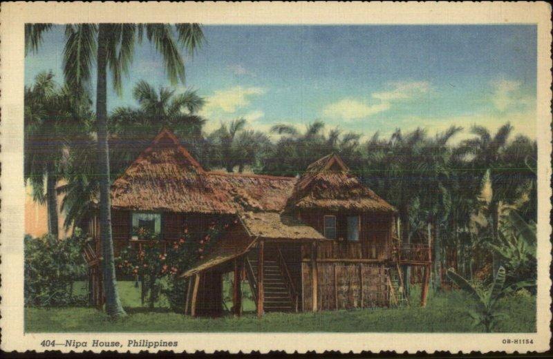 Philippines Nipa House Linen Postcard