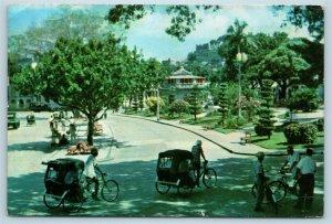Postcard China Macau Library at Public Garden Pedicab Bike Rickshaw U8