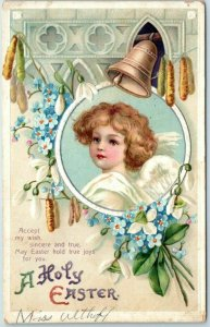 Vintage Holiday Embossed Postcard Holy Easter Angel Lily Bells Intl Art 1910s
