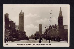 Mint Postcard Ireland RPPC Belfast University Lisburn Road Junction