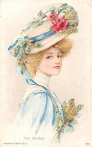 Beauty Lady Woman, Fancy Hat Roses Dress You darling Postcard