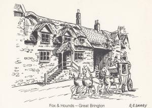 Fox & Hounds Great Brington Pub Postal Anniversary Northampton Postcard