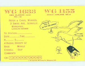Pre-1980 RADIO CARD - CB HAM OR QSL Whanganui - Wanganui New Zealand AH2429