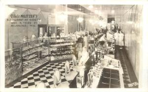 1930s RPPC Postcard Militzer's Bakery Restaurant Milwaukee WI Soda Fountain