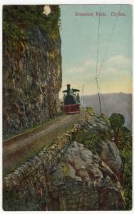 Sri Lanka / Ceylon; Sensation Rock PPC, 1912 PMK, To Miss Caddy, Lymington