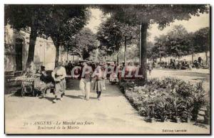 Old Postcard Angers The flower market Boulevard TOP mayor