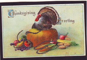 P1611 old thanksgiving postcard with some glitter