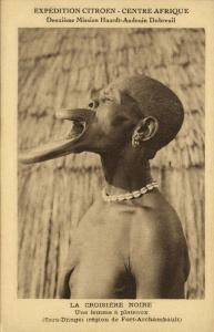 chad tchad Native Sara-Djinge Girl Lip Plate, Plateaux Lippenneger 1920s Citroen