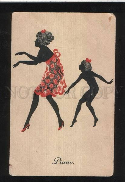 068240 ART NOUVEAU Silhouette LADY in RED vintage RARE PC