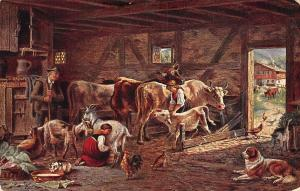 Village Life, Stable full of animals, cattle, goat, dog, chicken, cat