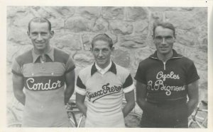 Swiss cyclists photo postcard Emile Vaucher in the middle