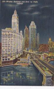 Illinois Chicago Wrigley Buildings and River By Night 1945 Curteich