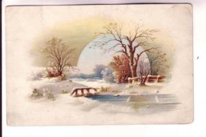 Lovely Winter Scene, To Dwight from Mrs Kennedy, Teacher, Vintage Card