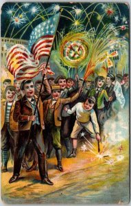 Vintage FOURTH OF JULY Patriotic Postcard Children Fireworks U.S. Flag c1910s