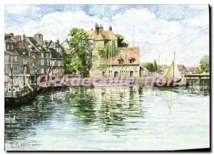 Modern Postcard Honfleur Watercolor by Jean Louis Thibaut Le Vieux Bassin The...