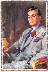 Manuel L Quezon First President of the Commonwealth Non Postcard Backing