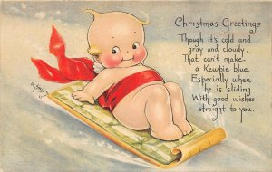 LP68 Rose O'Neill Kewpie  Christmas  Vintage Postcard Gibson Publisher Sled