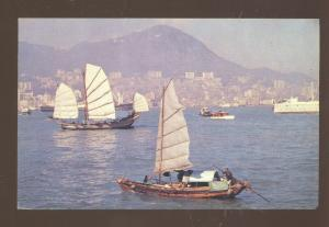 HONG KONG CHINA CHINESE FISHING BOATS HARBOR OLD POSTCARD TWA AIRLINES