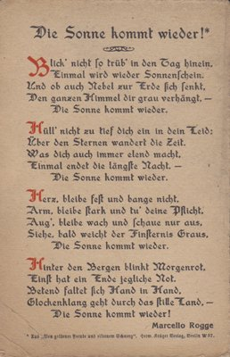 VIEW of poem THE SUN COMES BACK by Marcello Rogge - Die sonne kommt wieder 1910s