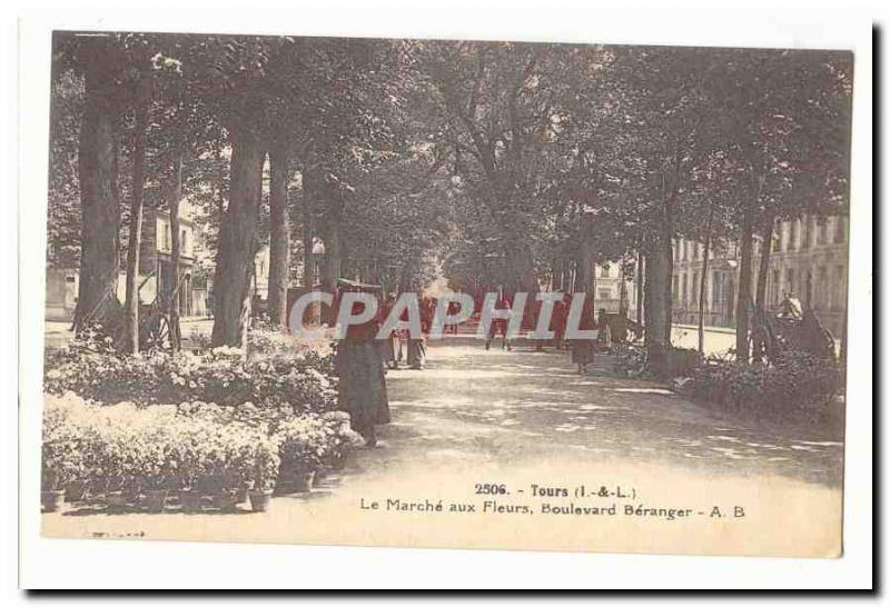 Tours Old Postcard The flower market Boulevard Beranger TOP