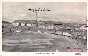 Port Erin Isle of Man panoramic birds eye view over beach real photo pc Z16062