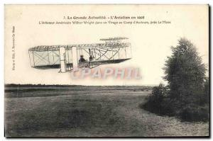 Old Postcard Jet Aviation Airplane Aviator Wilbur Wright in a bend of the & #...
