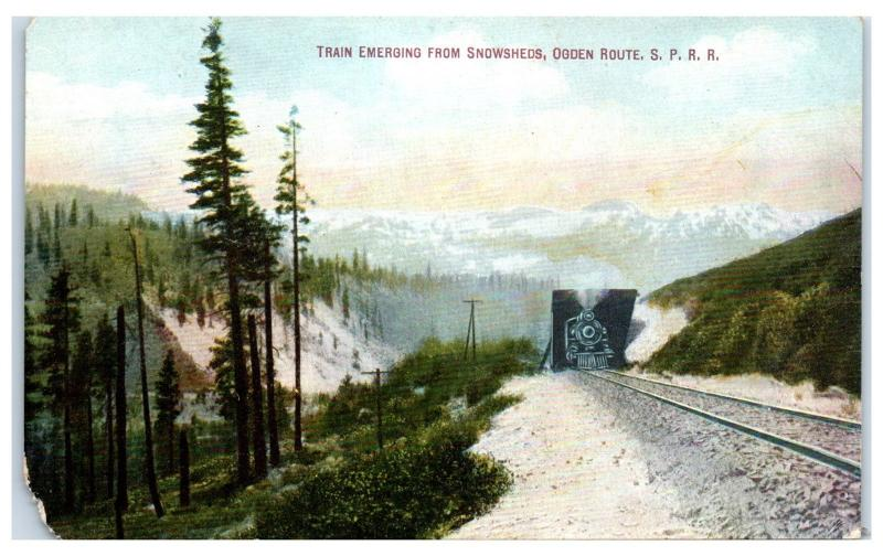 Train Emerging from Snowsheds, Ogden Route Southern Pacific Railroad Postcard